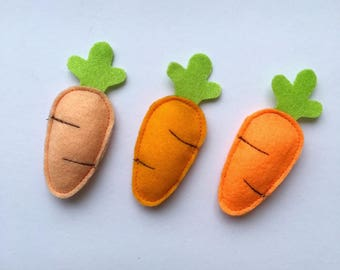 Felt carrot cat toys, cat gifts, stocking stuffers, fun toys, kid toys
