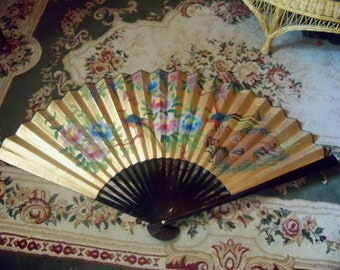 Vintage Chinese Hand Painted Lacquered Paper Fan