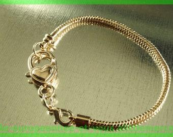 No. 16-18 cm charms pink European Bead Bracelet