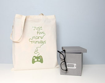 Tote, gaming tote, tote bag, geek tote bag, gamer tote, five more minutes, typography tote, quote totes, gifts for him, book bag, school bag