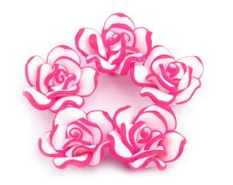 10 Roses, plastic (FIMO), neon pink, 2 cm  (1304)