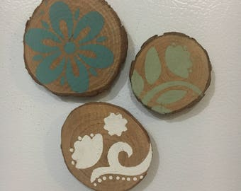 Wooden Magnet Sets of 3 or 4 Chalk Painted in Various Designs and waxed