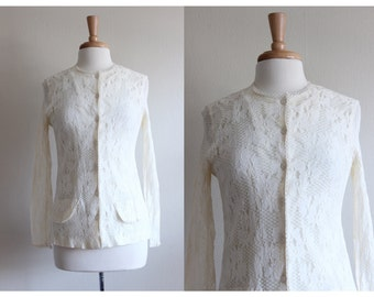 Vintage 1960s Ivory Lace Cardigan Top