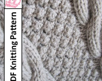 PDF KNITTING PATTERN, Cable knit blanket pattern, Blackberry Cables throw/afghan/blanket