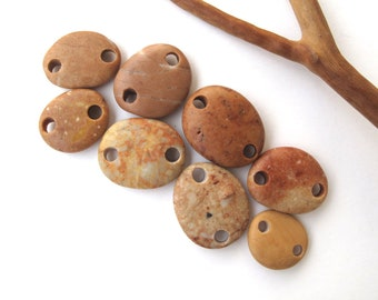 Rock Beads Rock Jewelry Connectors Mediterranean Side Drilled Beach Stone Links River Stone Beads PEACH LINKS 15-22 mm
