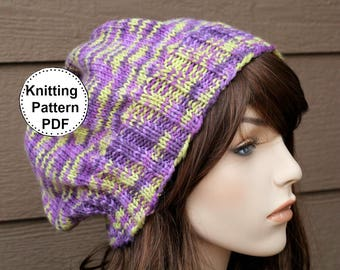KNIT HAT PATTERN Instant Pdf Download | Slouch Hat Pattern | Knitted hat Pattern | Knitting Pattern | Brook Slouch Hat Pattern