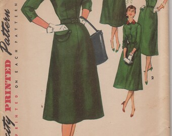 Bust 34-FACTORY FOLDED 1950's Misses' Dress With Detachable Collar and Scarf Simplicity 4894 Size 16