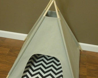 "Cat/Dog Teepee Pet Tent- Small 24"" base- Gray Canvas - PICK YOUR PILLOW - Ready Made or Custom Order it - Tenthouse Suite by Vintage Kandy"