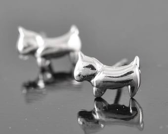 dog earring, sterling silver earring, stud earrings, eco friendly recycled silver, bridesmaid gift, wedding gift