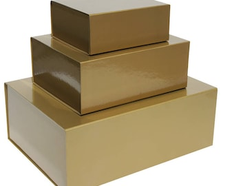 Gold Magnetic Gift Boxes available in 3 box sizes