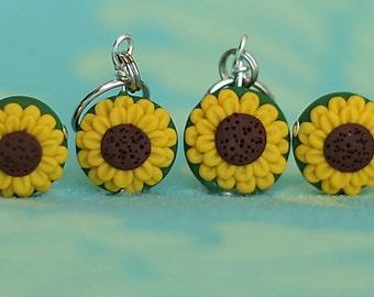 Sunflower Polymer Clay Stitch Markers (set of 4 miniature sculpted floral knit, crochet accessories)