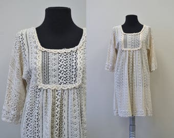 1970s Beige Lace Mini Dress