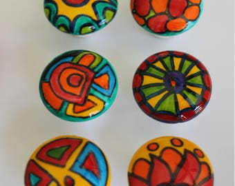SIX Rainbow Brights hand painted porcelain knobs