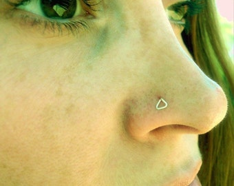 Sterling Silver-14K Gold-Triangle-Nose Stud-Tragus-Earrings-Customized / Free US Shipping