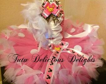 Minnie Pink White and Cheetah Petti Tutu Dress