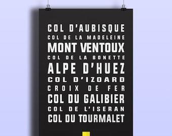Tour de France Cycling Print : Legendary French Climbs - Mont Ventoux, Alpe de Huez and more