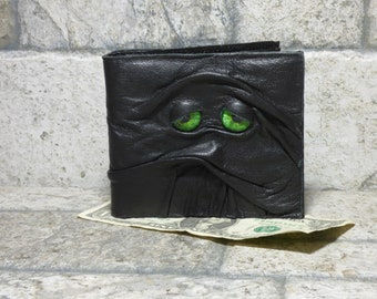 Leather Wallet Monster Face Fantasy Zombie Fathers Day Gift Gray Black 531