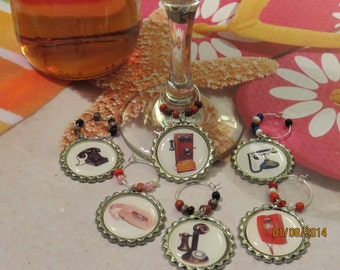 Old Fashioned Telephone Wine Charms - Set of 6