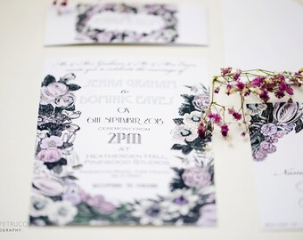 Vintage Floral Wedding Invite and RSVP