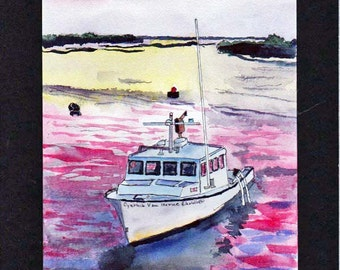 Fishing Boat At Sunset #2 Maine Watercolor-Landscape-Wedding-Man Gift-Art Collector-Original