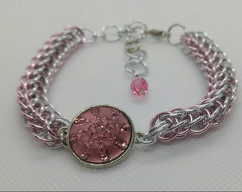 Pink and silver sparkle chainmail bracelet