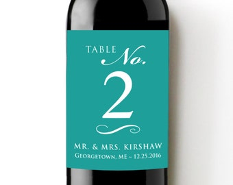 Table Numbers Custom Wine Labels - Self Adhesive WEATHERPROOF and REMOVABLE - Wine Bottle Labels - Table Centerpiece