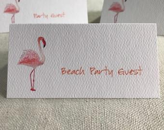 Flamingo, Tropical Bird, Tented Cards,Personalized Cards, Blank Seating Cards, Tropical Theme, Seating Cards, Destination Wedding,  Poolside