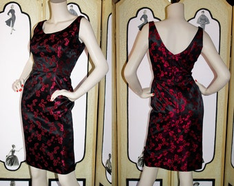 60's Hawaiian Cocktail Dress by Lauhala. Black and Berry Red Cherry Blossoms. Small.
