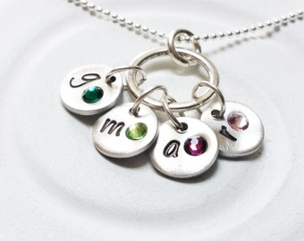 Mother's Necklace - Personalized, Hand Stamped Birthstone Initial Necklace - Mother's Four Initial Necklace - Grandmother's Necklace