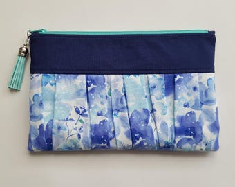 Ruffled Wristlet - Blue Flowers