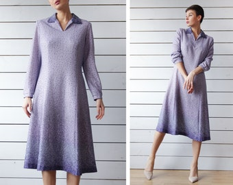 Vintage purple tiny dot print long sleeve simple elegant day midi dress L
