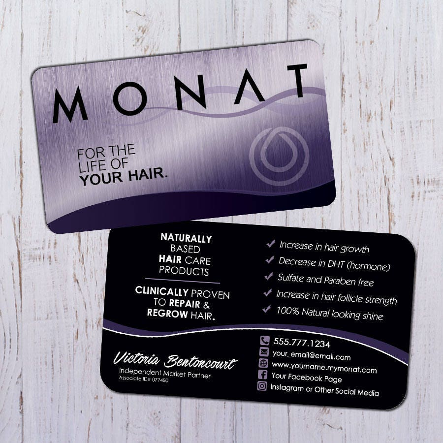 Monat Business Cards Silver Purple Design with Black Back