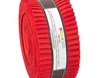 Kona Cotton Lipstick Red JELLY ROLL from Robert Kaufman - 40 2.5 Inch pieces (2.8 yards) - RU-322-40
