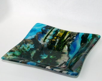 Fused Glass Boiled Bright Square Bowl