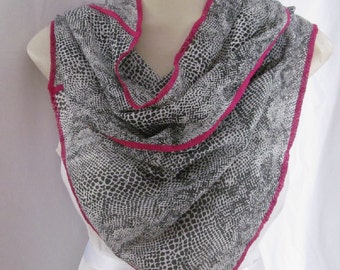 Fuchsia Edge Charcoal Shawl Black White Snakeskin Print Triangle Scarf
