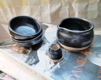 A Pitch Black Match Set. Handmade Ceramics. Wheel Thrown Pottery. With Love in Baltimore.