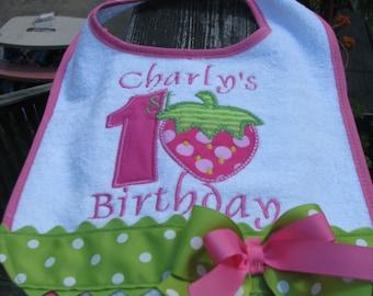 pink strawberry bib,birthday bib, 1st birthday, 2nd birthday, smash cake bib, smash cake photo, strawberry birthday