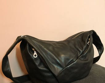 Pieced leather & zipper hobo