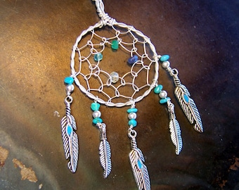 Dreamcatcher Mothers Necklace with Birthstones - custom personalized - Sterling Silver Pendant with Chain - Mothers Day gift