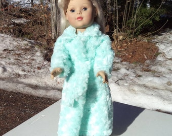 "18"" green/aqua doll bathrobe, floor length doll bathrobe, plush doll bathrobe, doll bathrobe with ties, minty soft doll bathrobe, self tie"