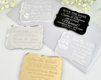 70 x Engraved Acrylic mini 'Save the Date' Wedding Stationary