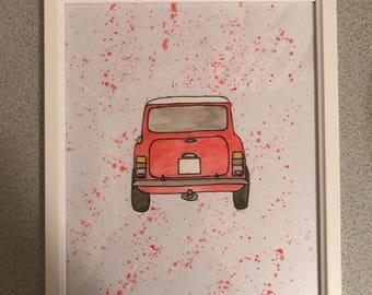 Framed Paint Splattered Car