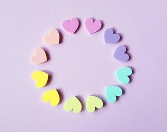 Heart Earrings - Pastel Acrylic Heart Stud Earrings