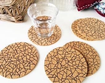 Cork coasters, Coasters cork, Round cork coasters, Christmas gift, Coaster set, Geometric, Housewarming gift, Ink drawing, Set of 6 coasters