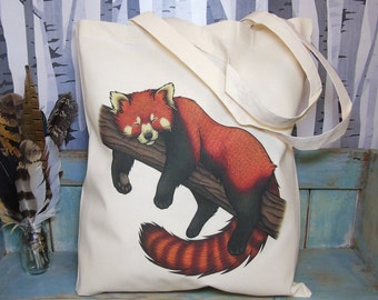 Red Panda Illustration Eco Tote Bag ~ 100% Cotton Long Handles made in a Fairtrade Factory