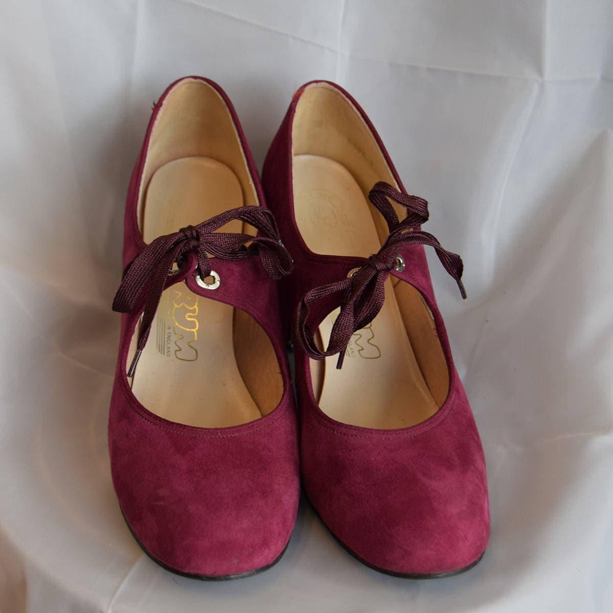 1970 ' s chaussures en daim violet UK taille environ UK violet 4,5 392561