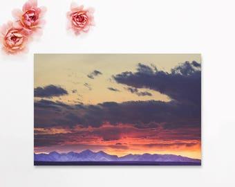 "landscape wall art, landscape photography, photograph with mat, landscape wall art, landscape art prints, mountain - ""Crazy Mountain Sunset"""