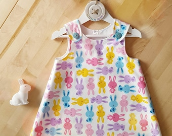 Bunny Rabbit Dress, A-line Pinafore Dress, Girls Easter Dress, Baby Easter gift