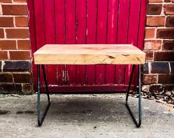 KYSSA - (Coat Hanger) Round Bar Leg Live Edge Coffee Table. Custom made to Order