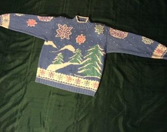 Winter Blue Snowflake Sweater